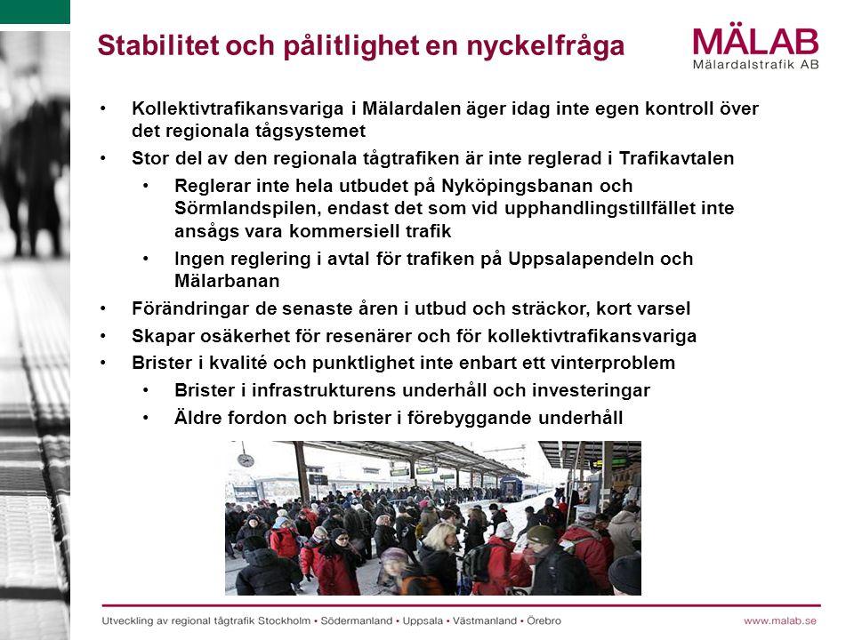 Kollektivtrafikansvariga i Mälardalen äger idag inte egen kontroll över det regionala tågsystemet Stor del av den regionala tågtrafiken är inte regler