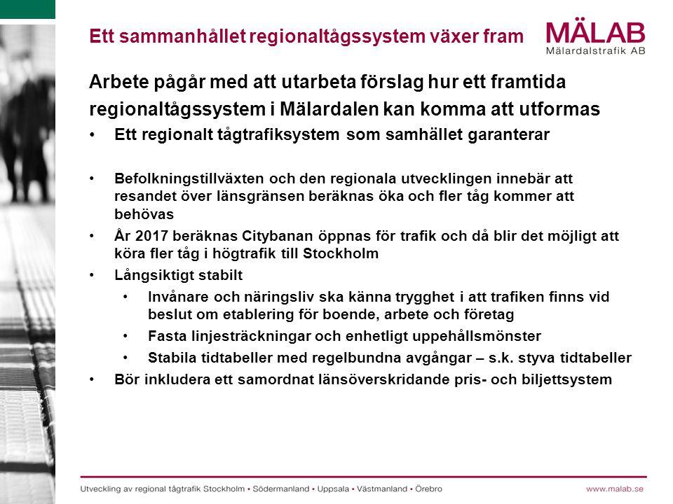 Ett sammanhållet regionaltågssystem växer fram Arbete pågår med att utarbeta förslag hur ett framtida regionaltågssystem i Mälardalen kan komma att ut