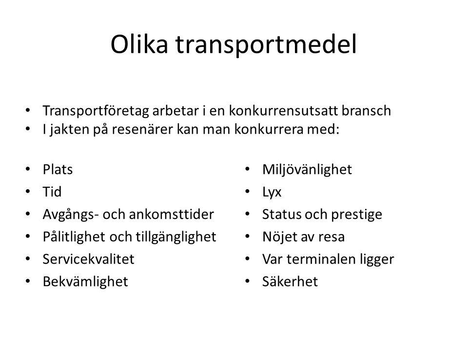 Olika transportmedel Plats Tid Avgångs- och ankomsttider Pålitlighet och tillgänglighet Servicekvalitet Bekvämlighet Miljövänlighet Lyx Status och pre
