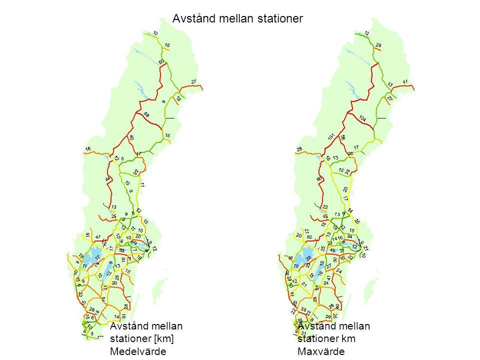 Avstånd mellan stationer Avstånd mellan stationer [km] Medelvärde Avstånd mellan stationer km Maxvärde