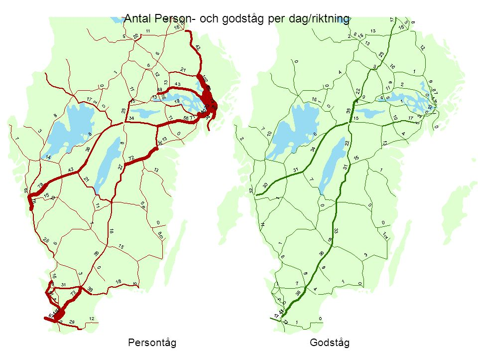 Antal Person- och godståg per dag/riktning PersontågGodståg