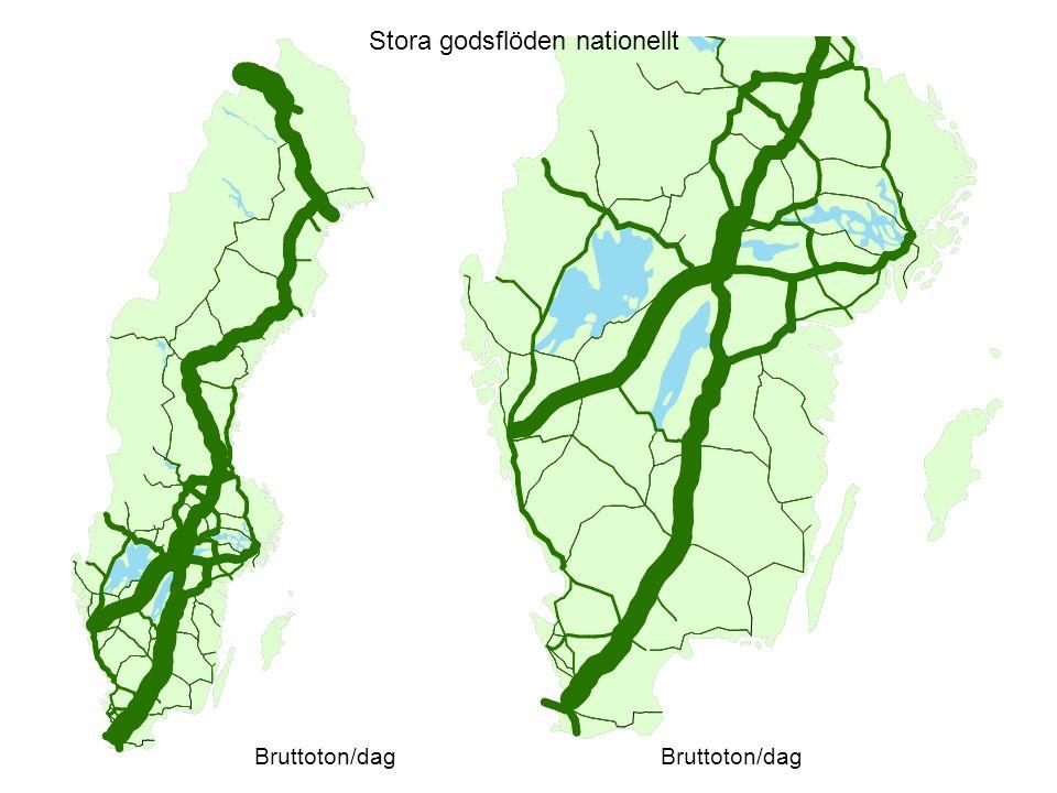 Stora godsflöden nationellt Bruttoton/dag