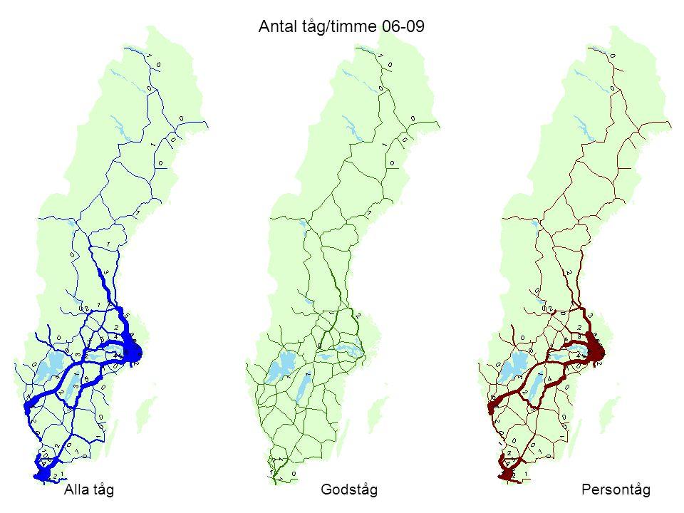 Antal tåg/timme 06-09 Alla tågGodstågPersontåg