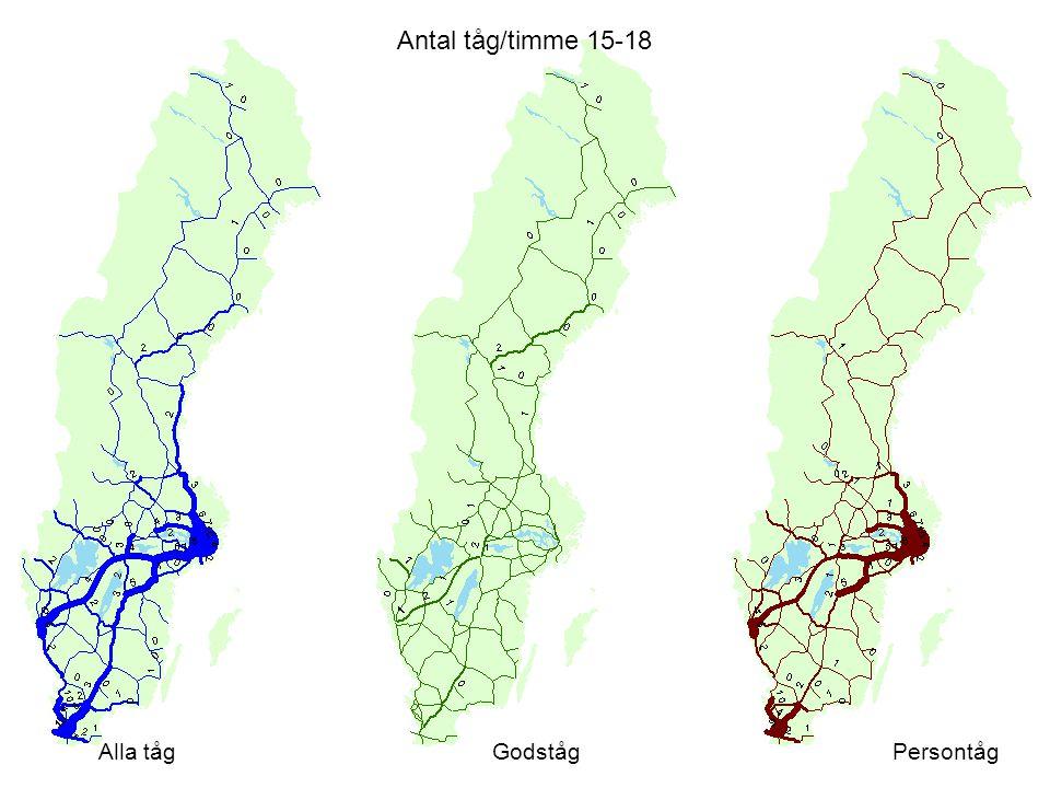 Antal tåg/timme 15-18 Alla tågGodstågPersontåg