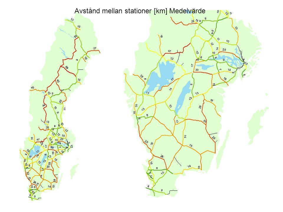 Avstånd mellan stationer [km] Medelvärde
