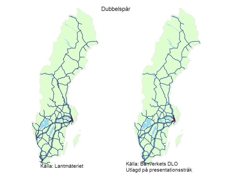 Dubbelspår Källa: Lantmäteriet Källa: Banverkets DLO Utlagd på presentationsstråk
