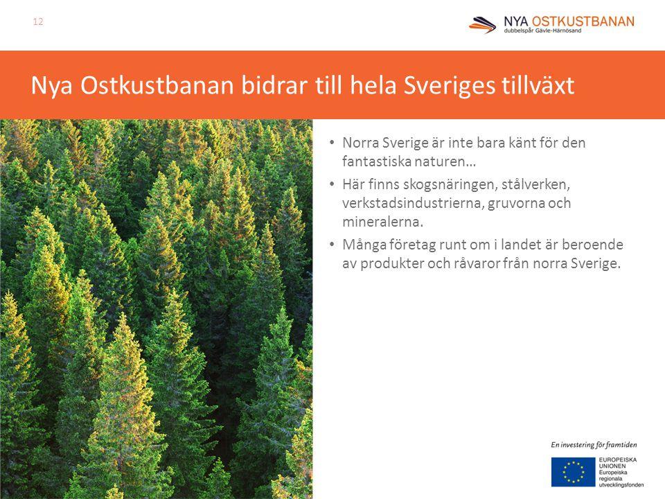 Nya Ostkustbanan bidrar till hela Sveriges tillväxt Norra Sverige är inte bara känt för den fantastiska naturen… Här finns skogsnäringen, stålverken,
