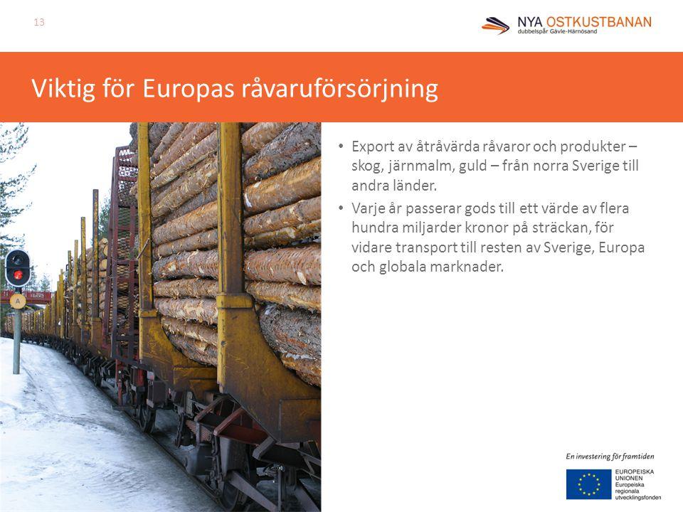 Viktig för Europas råvaruförsörjning Export av åtråvärda råvaror och produkter – skog, järnmalm, guld – från norra Sverige till andra länder. Varje år