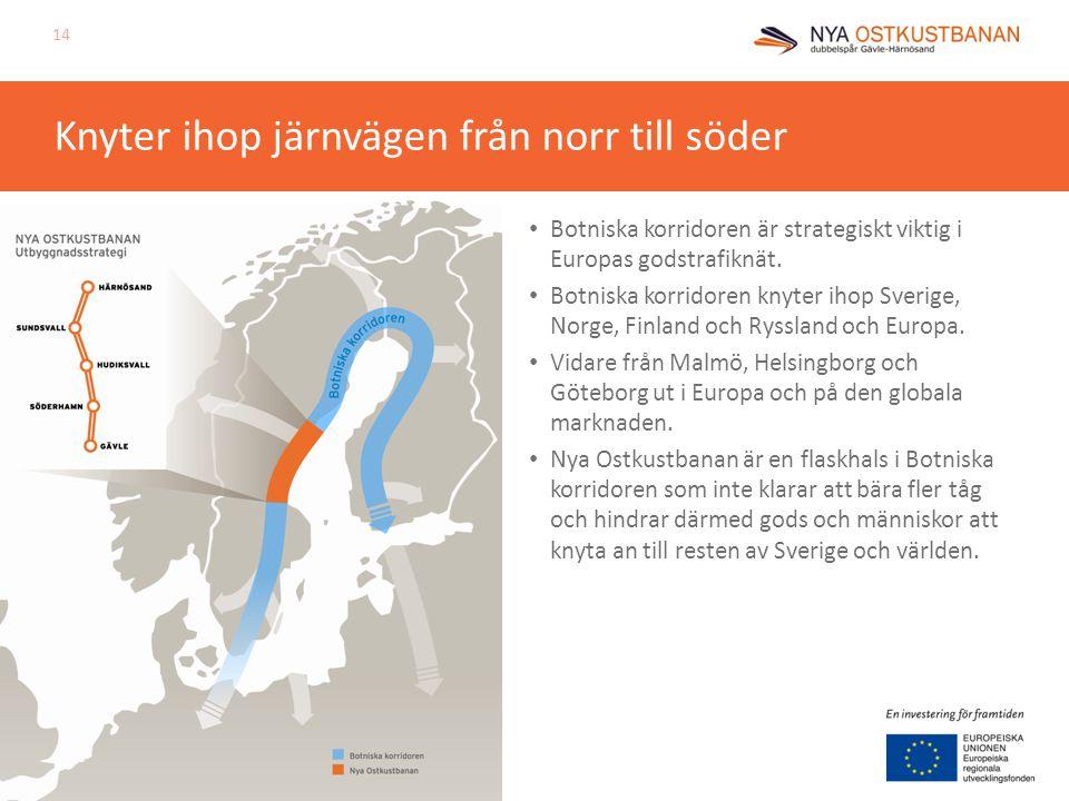 Knyter ihop järnvägen från norr till söder Botniska korridoren är strategiskt viktig i Europas godstrafiknät. Botniska korridoren knyter ihop Sverige,