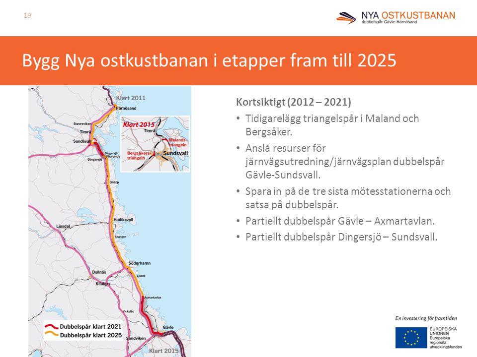 Bygg Nya ostkustbanan i etapper fram till 2025 Kortsiktigt (2012 – 2021) Tidigarelägg triangelspår i Maland och Bergsåker. Anslå resurser för järnvägs