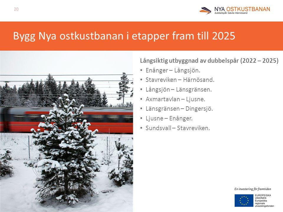 Bygg Nya ostkustbanan i etapper fram till 2025 Långsiktig utbyggnad av dubbelspår (2022 – 2025) Enånger – Långsjön. Stavreviken – Härnösand. Långsjön