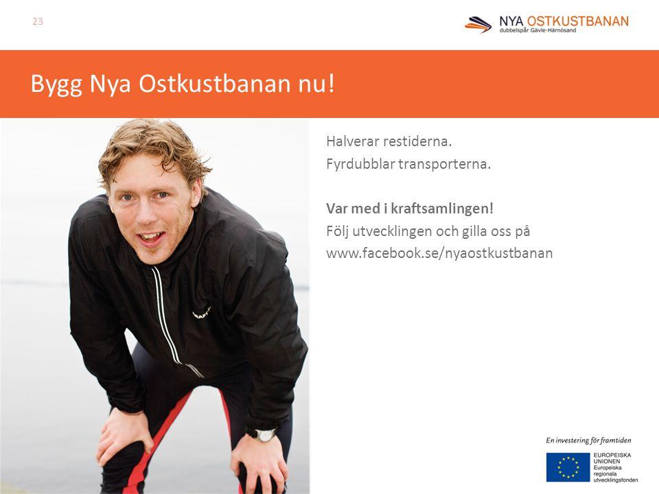 Bygg Nya Ostkustbanan nu! Halverar restiderna. Fyrdubblar transporterna. Var med i kraftsamlingen! Följ utvecklingen och gilla oss på www.facebook.se/