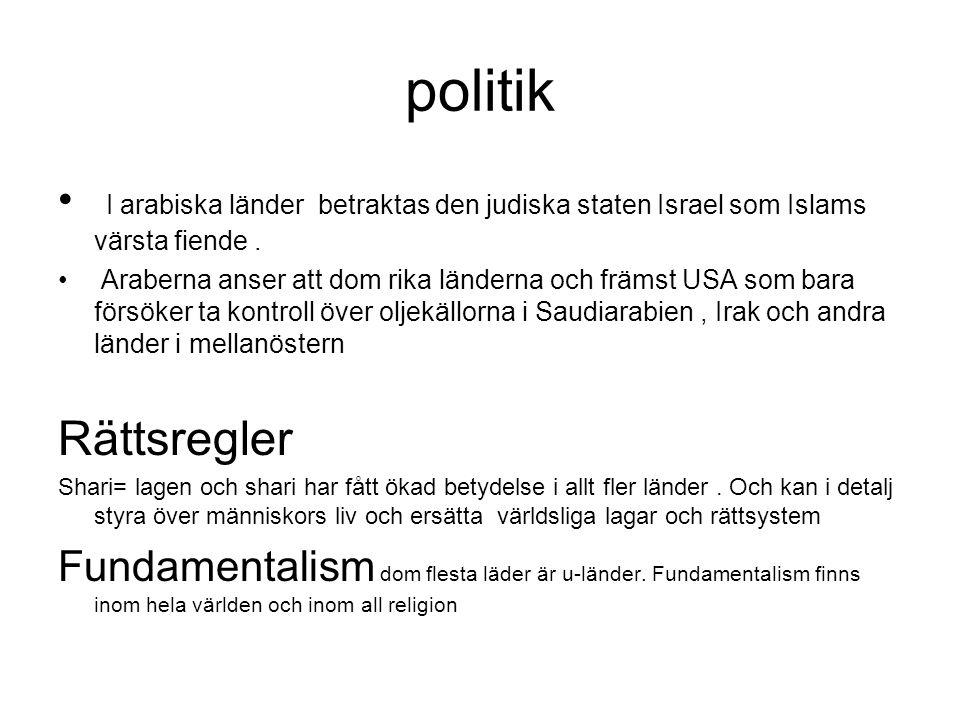 politik I arabiska länder betraktas den judiska staten Israel som Islams värsta fiende.