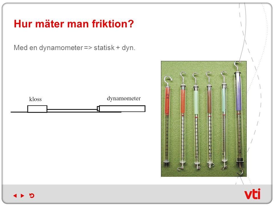 Hur mäter man friktion? Med en dynamometer => statisk + dyn.