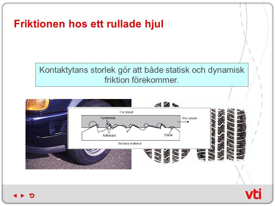 Friktionen hos ett rullade hjul Kontaktytans storlek gör att både statisk och dynamisk friktion förekommer.