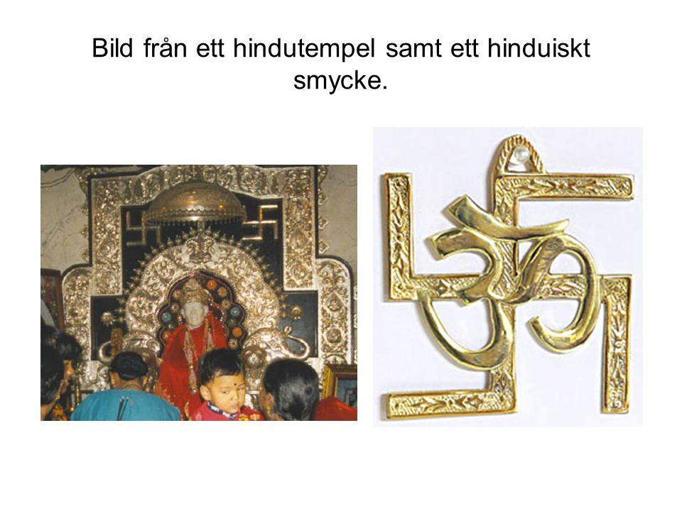 Bild från ett hindutempel samt ett hinduiskt smycke.