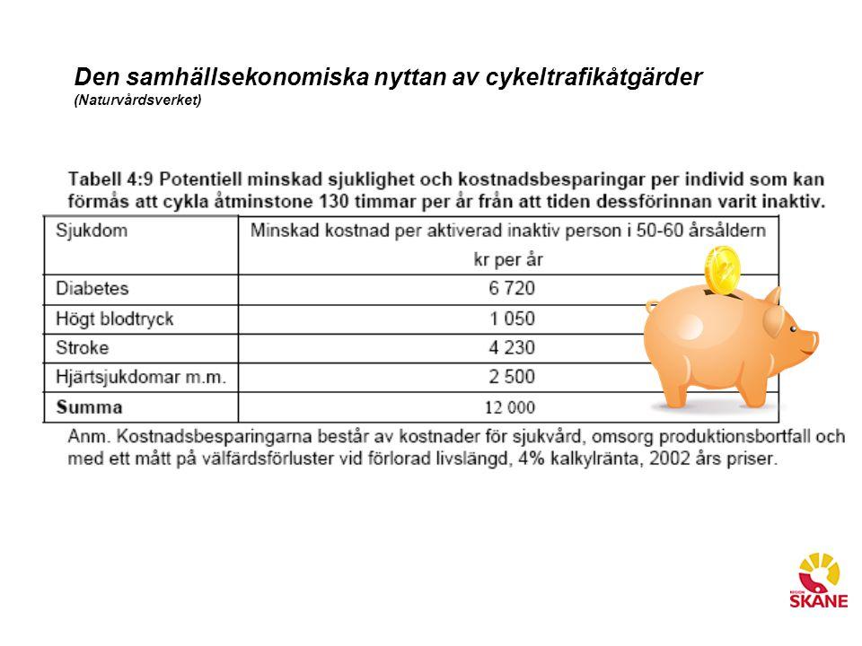 Den samhällsekonomiska nyttan av cykeltrafikåtgärder (Naturvårdsverket)