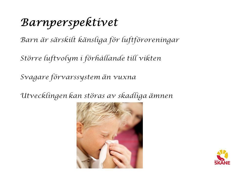 Barnperspektivet Barn är särskilt känsliga för luftföroreningar Större luftvolym i förhållande till vikten Svagare förvarssystem än vuxna Utvecklingen