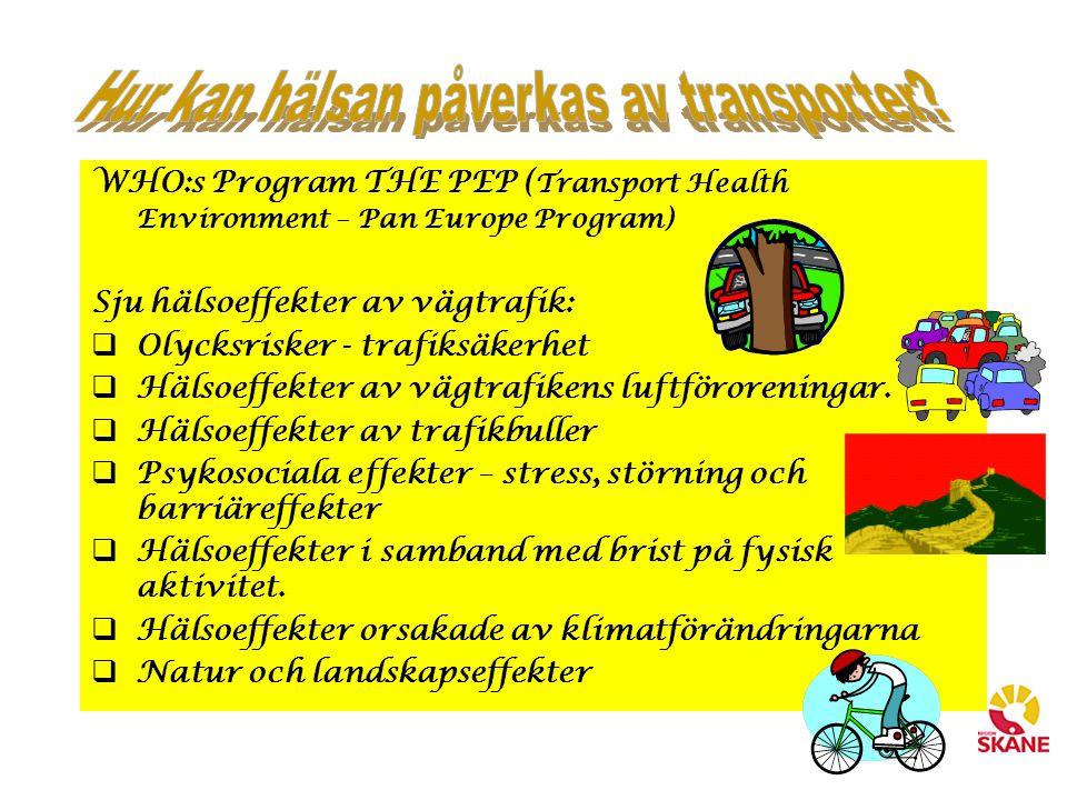 WHO:s Program THE PEP ( Transport Health Environment – Pan Europe Program) Sju hälsoeffekter av vägtrafik:  Olycksrisker - trafiksäkerhet  Hälsoeffe