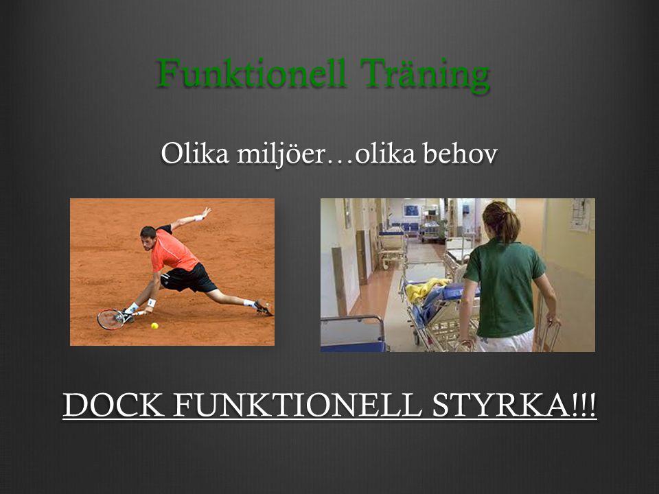 Funktionell Träning Olika miljöer…olika behov DOCK FUNKTIONELL STYRKA!!!