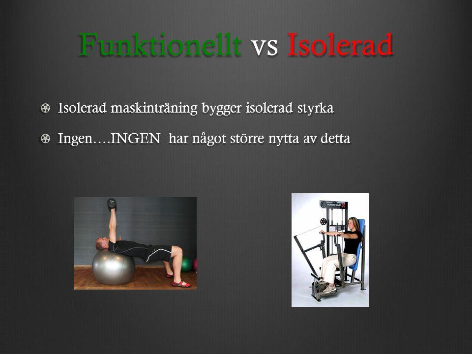 Funktionellt vs Isolerad Isolerad maskinträning bygger isolerad styrka Ingen….INGEN har något större nytta av detta