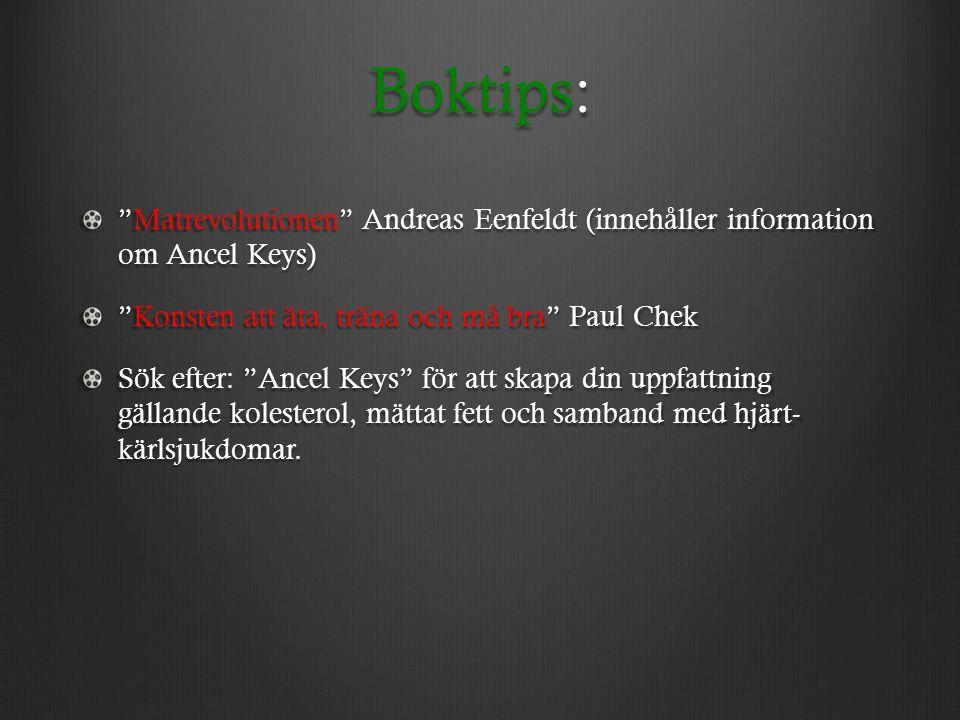 """Boktips: """"Matrevolutionen"""" Andreas Eenfeldt (innehåller information om Ancel Keys) """"Konsten att äta, träna och må bra"""" Paul Chek Sök efter: """"Ancel Key"""