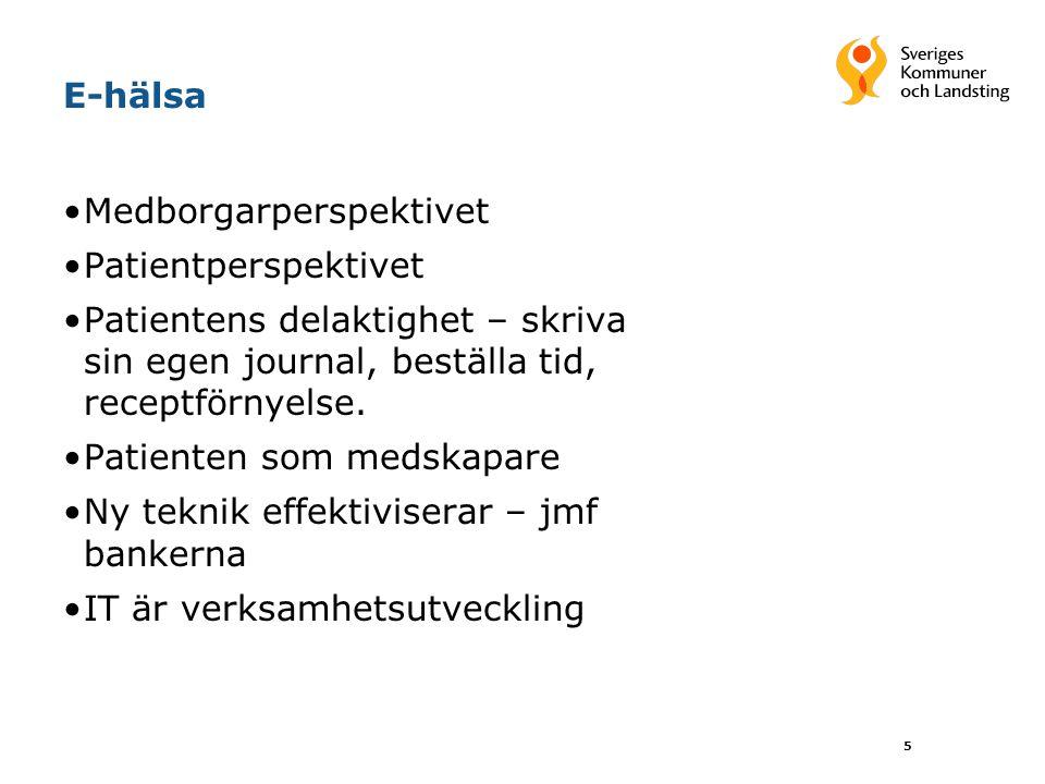 E-hälsa Nytt sätt att dokumentera Integrerad journalföring – journal, register, beslutstöd Patienten äger informationen Virtuell vård.