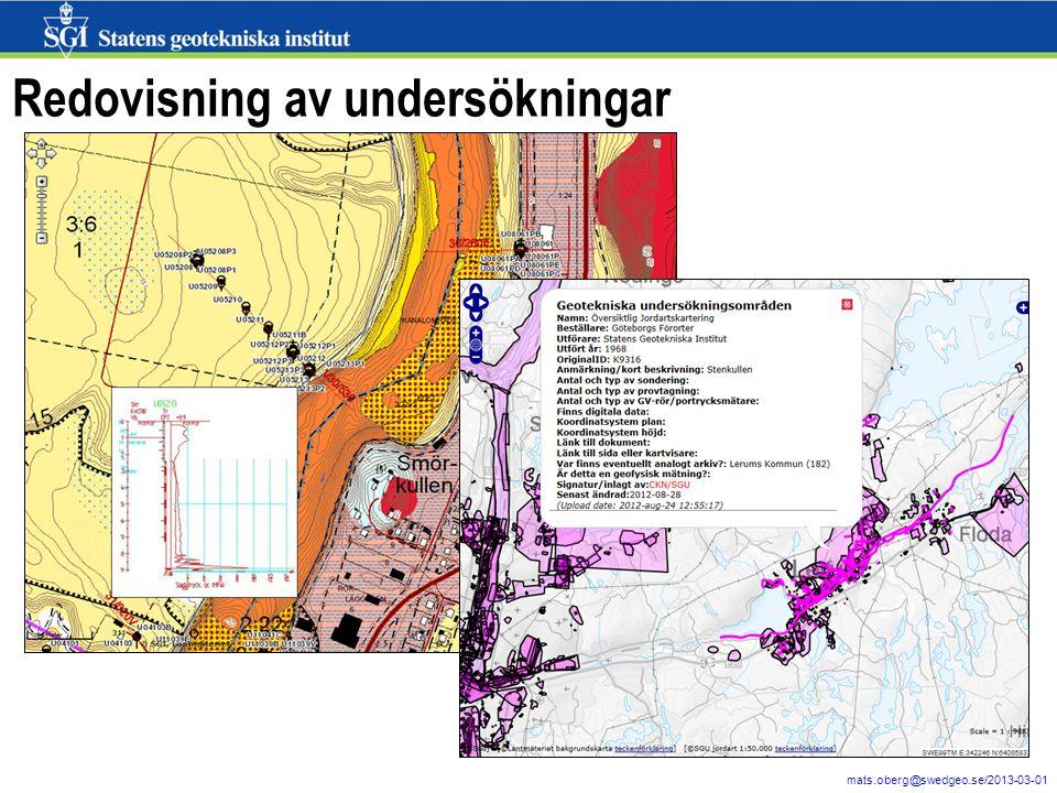 4 mats.oberg@swedgeo.se/2013-03-01 Redovisning av undersökningar