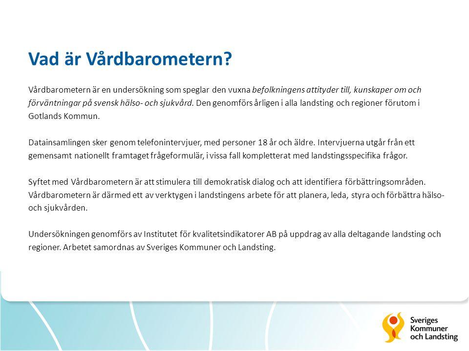 Vad är Vårdbarometern? Vårdbarometern är en undersökning som speglar den vuxna befolkningens attityder till, kunskaper om och förväntningar på svensk