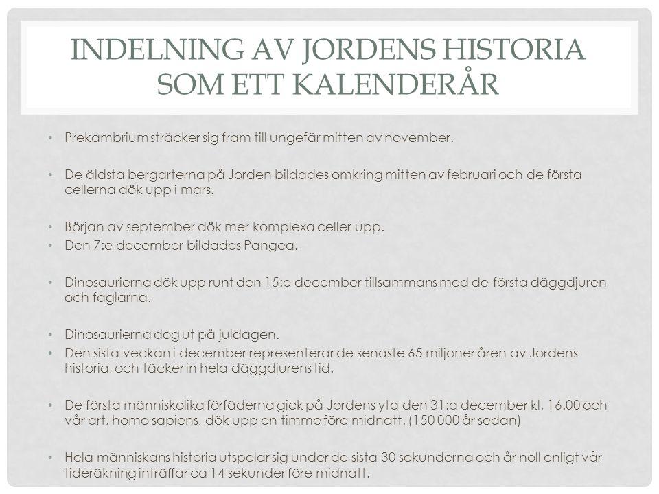 INDELNING AV JORDENS HISTORIA SOM ETT KALENDERÅR Prekambrium sträcker sig fram till ungefär mitten av november.