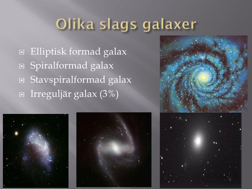  Elliptisk formad galax  Spiralformad galax  Stavspiralformad galax  Irreguljär galax (3%)