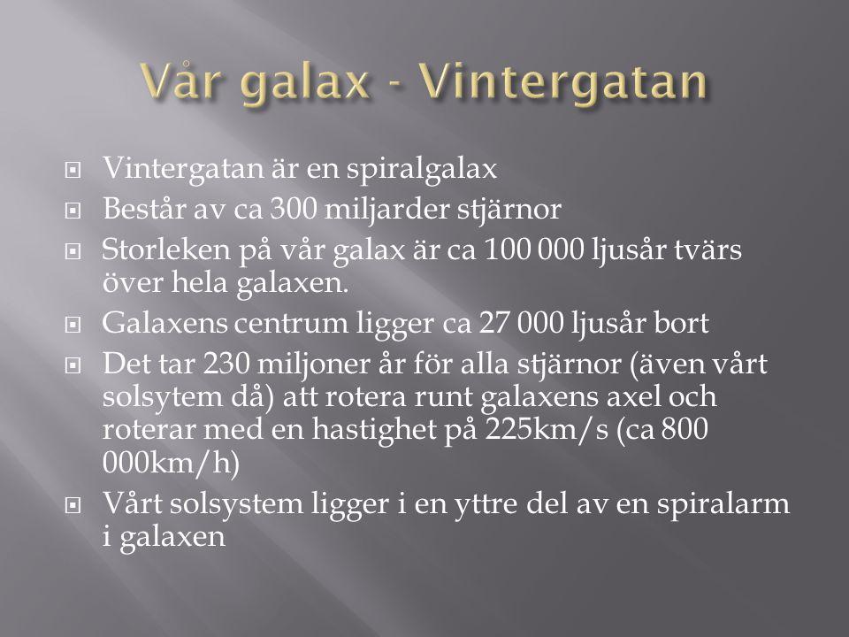  Vintergatan är en spiralgalax  Består av ca 300 miljarder stjärnor  Storleken på vår galax är ca 100 000 ljusår tvärs över hela galaxen.  Galaxen