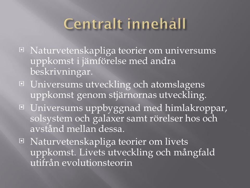  Naturvetenskapliga teorier om universums uppkomst i jämförelse med andra beskrivningar.  Universums utveckling och atomslagens uppkomst genom stjär
