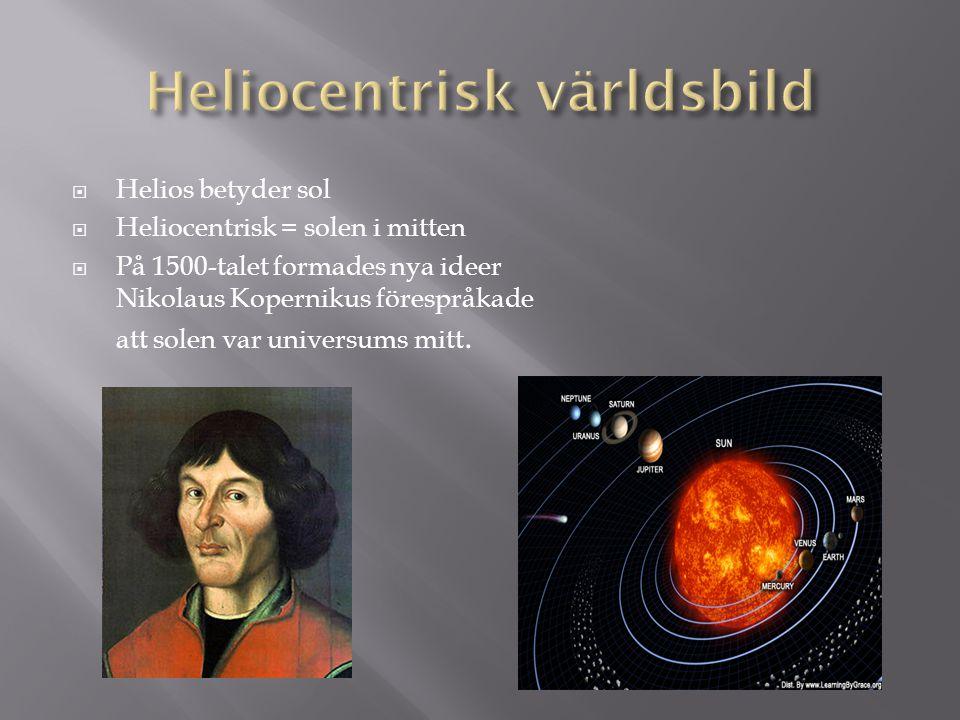  Helios betyder sol  Heliocentrisk = solen i mitten  På 1500-talet formades nya ideer Nikolaus Kopernikus förespråkade att solen var universums mit