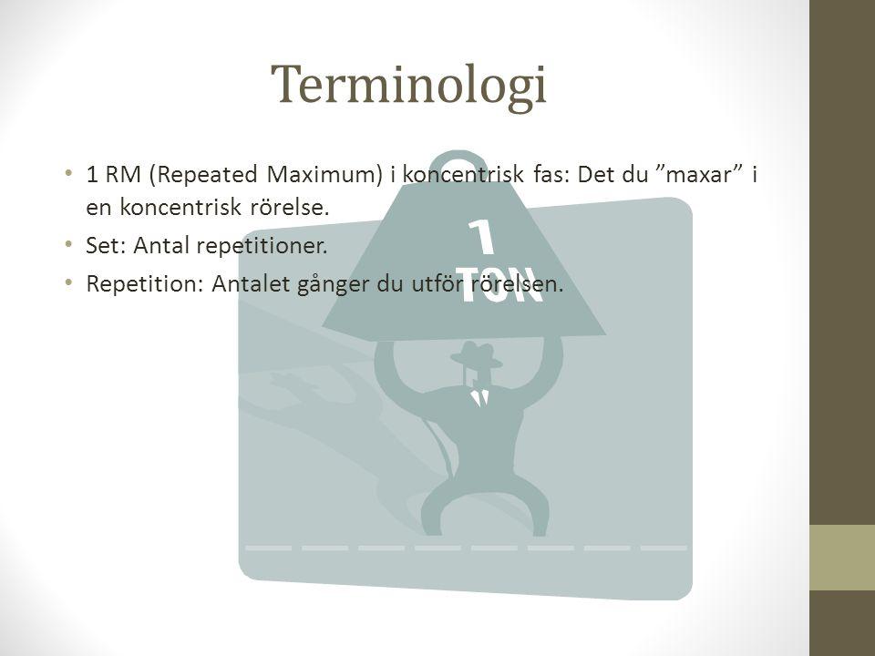 """Terminologi 1 RM (Repeated Maximum) i koncentrisk fas: Det du """"maxar"""" i en koncentrisk rörelse. Set: Antal repetitioner. Repetition: Antalet gånger du"""