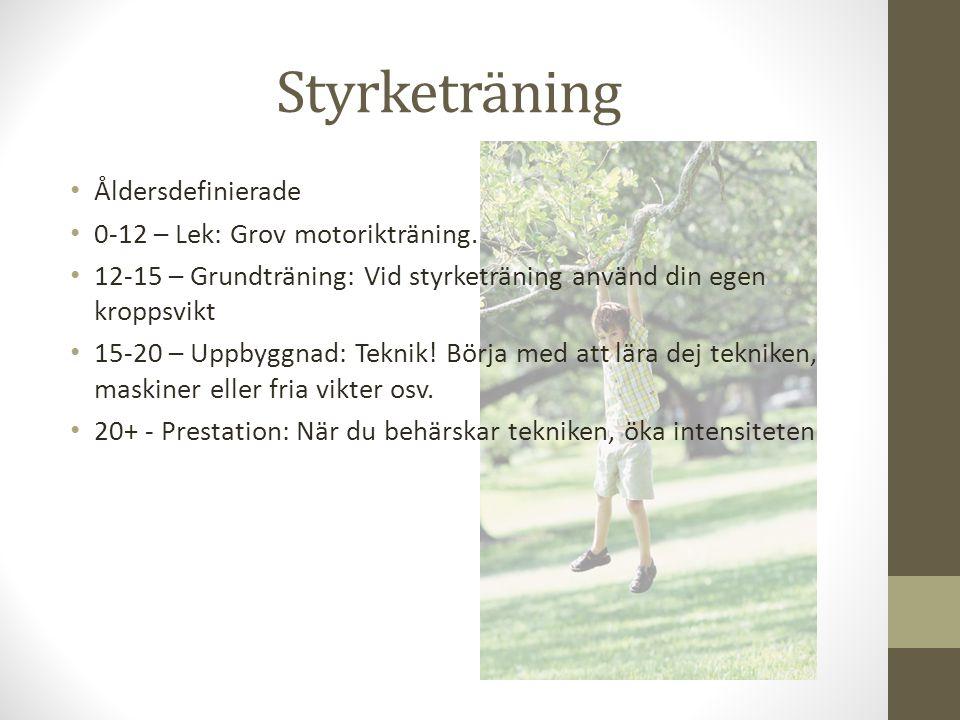 Styrketräning Åldersdefinierade 0-12 – Lek: Grov motorikträning. 12-15 – Grundträning: Vid styrketräning använd din egen kroppsvikt 15-20 – Uppbyggnad