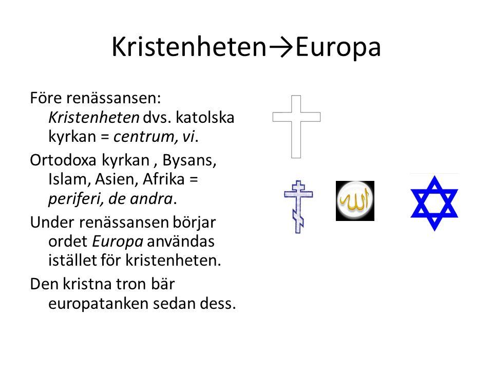 Kristenheten→Europa Före renässansen: Kristenheten dvs. katolska kyrkan = centrum, vi. Ortodoxa kyrkan, Bysans, Islam, Asien, Afrika = periferi, de an