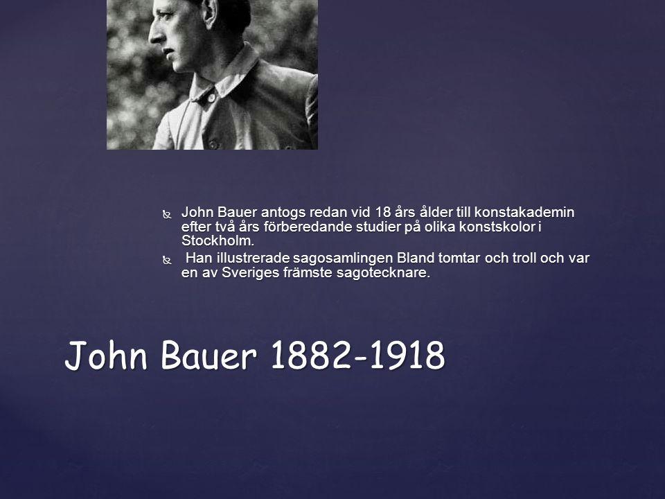  John Bauer antogs redan vid 18 års ålder till konstakademin efter två års förberedande studier på olika konstskolor i Stockholm.  Han illustrerade