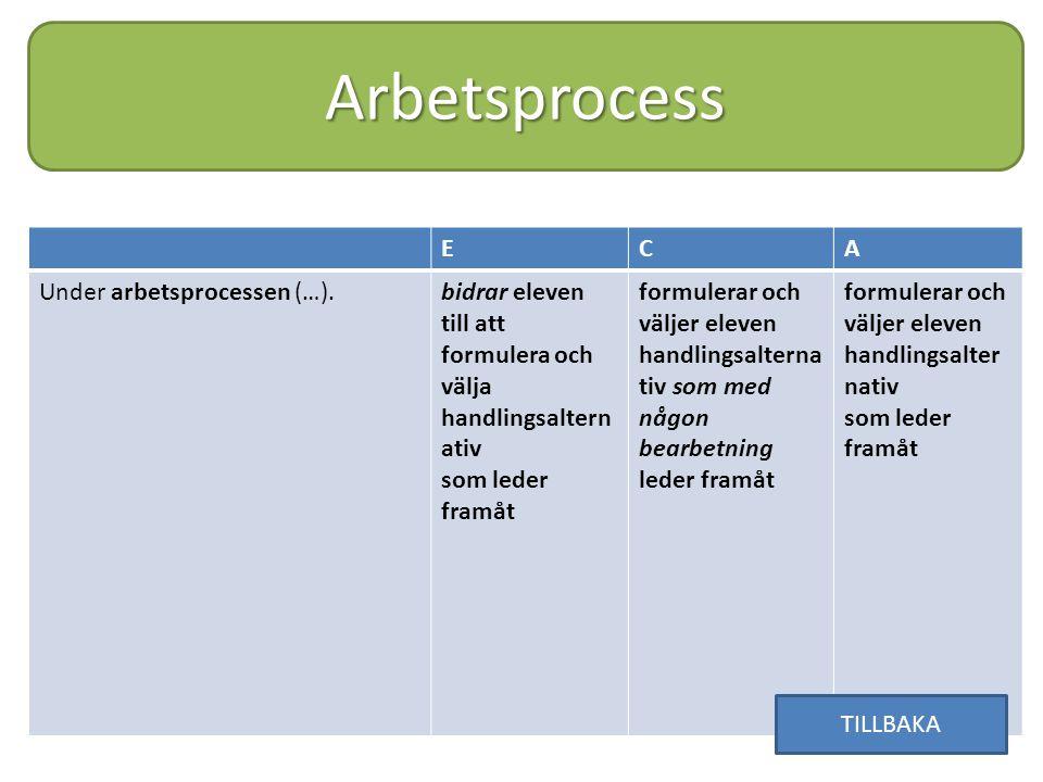 Arbetsprocess ECA Under arbetsprocessen (…).bidrar eleven till att formulera och välja handlingsaltern ativ som leder framåt formulerar och väljer ele