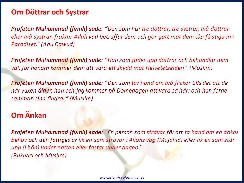 """Om Döttrar och Systrar Profeten Muhammad (fvmh) sade: """"Den som har tre döttrar, tre systrar, två döttrar eller två systrar; fruktar Allah vad beträffa"""