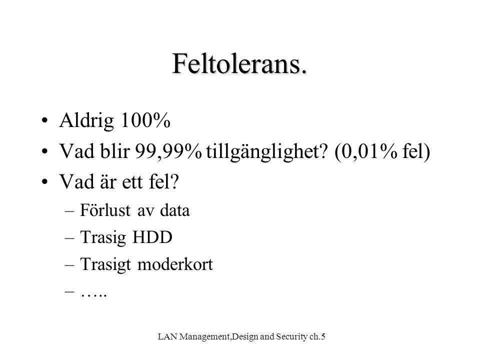 LAN Management,Design and Security ch.5 Feltolerans. Aldrig 100% Vad blir 99,99% tillgänglighet? (0,01% fel) Vad är ett fel? –Förlust av data –Trasig