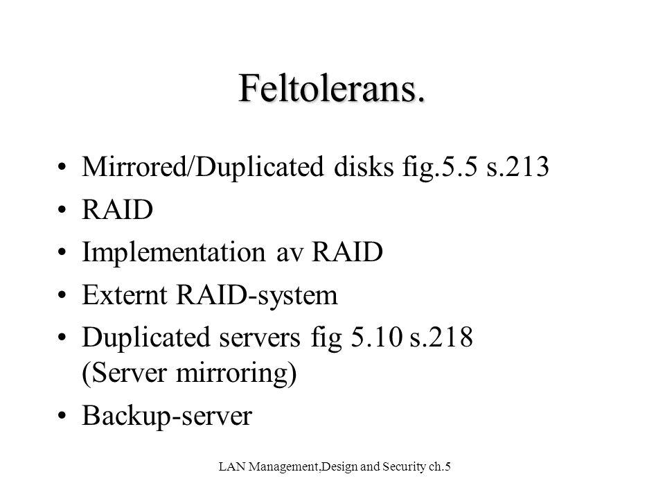 LAN Management,Design and Security ch.5 Feltolerans. Mirrored/Duplicated disks fig.5.5 s.213 RAID Implementation av RAID Externt RAID-system Duplicate