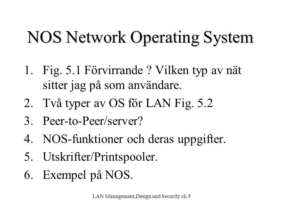 LAN Management,Design and Security ch.5 NOS Network Operating System 1.Fig. 5.1 Förvirrande ? Vilken typ av nät sitter jag på som användare. 2.Två typ