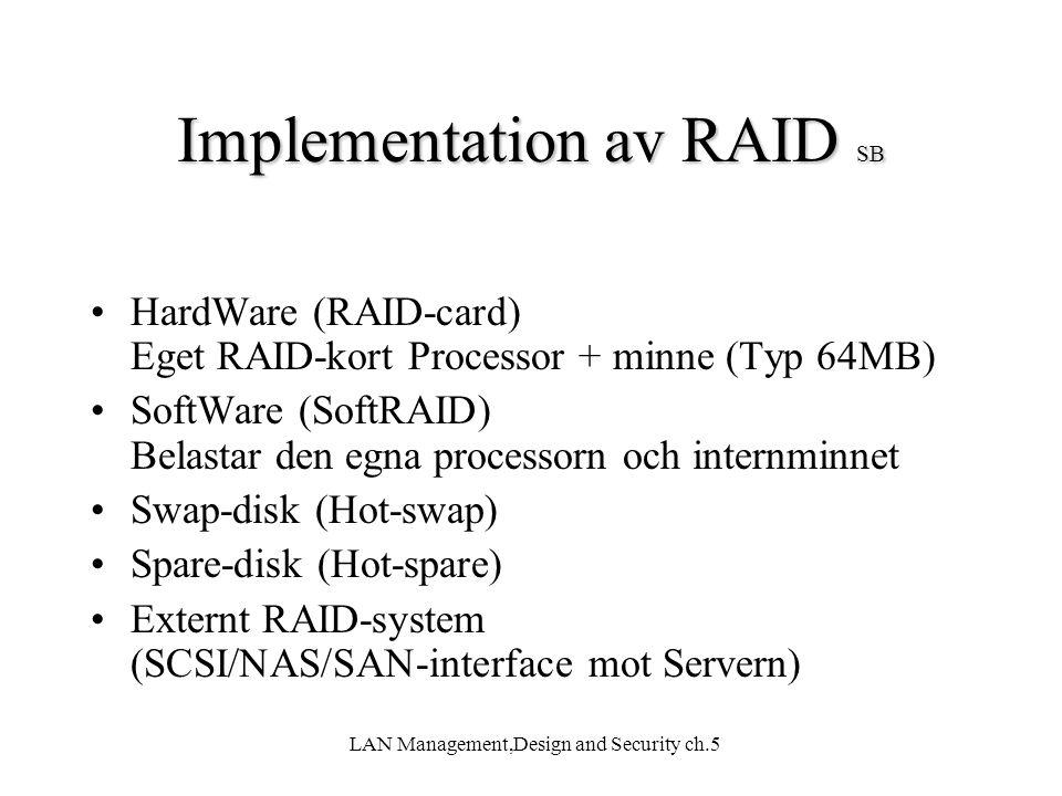 LAN Management,Design and Security ch.5 Implementation av RAID SB HardWare (RAID-card) Eget RAID-kort Processor + minne (Typ 64MB) SoftWare (SoftRAID)