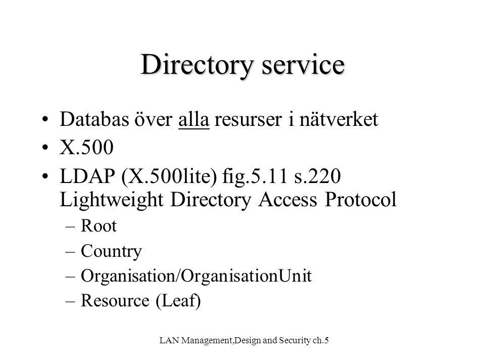 LAN Management,Design and Security ch.5 Directory service Databas över alla resurser i nätverket X.500 LDAP (X.500lite) fig.5.11 s.220 Lightweight Dir