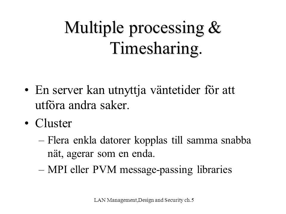 LAN Management,Design and Security ch.5 Multiple processing & Timesharing Multiple processing & Timesharing. En server kan utnyttja väntetider för att