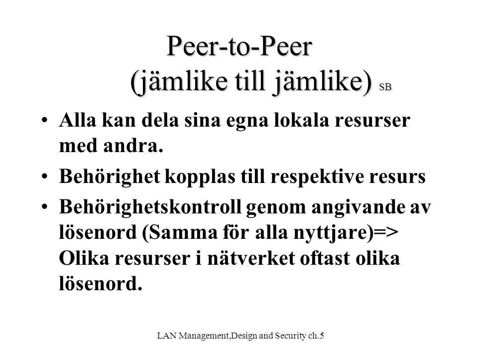 LAN Management,Design and Security ch.5 Peer-to-Peer Nätverk(Positivt) Peer-to-Peer Nätverk (Positivt) SB + Ingen server krävs + Bra nyttjande av resurser (en har stor hårddisk, en har bra skivare) + Minimal administration + Gratis programvara (Apple lokaltalk, Windows workgroup, Kazaa m.fl)