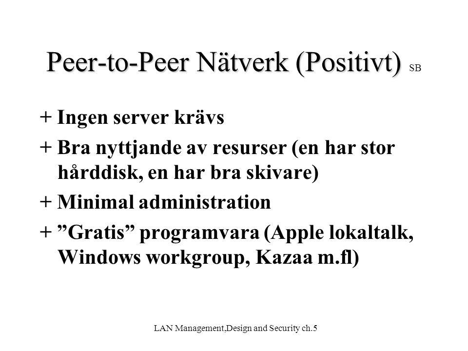 LAN Management,Design and Security ch.5 Peer-to-Peer Nätverk(Negativt) Peer-to-Peer Nätverk (Negativt) SB -Svårt att skapa bra struktur (Var är filen?) -Dåligt intrångsskydd (lösenordet för resursen sprids lätt) -Driftstörningar (Någon slog av sin dator) -Svårt med säkerhetskopiering -Kräver att användarna vet vad dom gör Slutsats: Rekommenderas endast för små nät (< 5 datorer)
