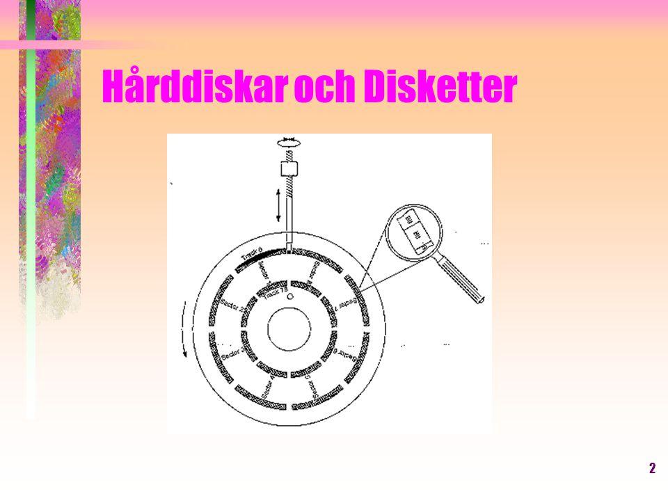 13 Hårddiskar och Disketter Boot sektorn på en diskett eller startsektorn på en partition (se s.
