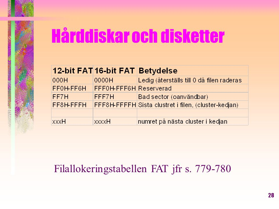28 Hårddiskar och disketter Filallokeringstabellen FAT jfr s. 779-780